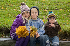 Children with yellow leafs Royalty Free Stock Images