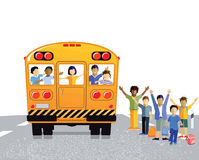 Children and Yellow School Bus. Yellow school bus with children inside and outside with arms raised Stock Images