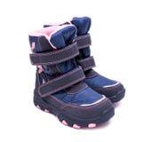 Children zimy lub jesieni mody buty odizolowywający na białym tle buty, skarbie Obraz Royalty Free