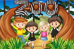 Children at the zoo entrance. Illustration Stock Photo