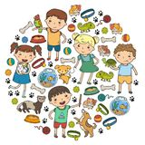 Children zoo Pet shop Veterinary Kindergarten kids with dog, hamster, cat Animals and food and accessories. Children zoo Pet shop Veterinary Kindergarten kids Royalty Free Stock Photography