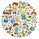Children zoo Pet shop Veterinary Kindergarten kids with dog, hamster, cat Animals and food and accessories. Children zoo Pet shop Veterinary Kindergarten kids Royalty Free Stock Images