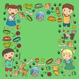 Children zoo Pet shop Veterinary Kindergarten kids with dog, hamster, cat Animals and food and accessories. Children zoo Pet shop Veterinary Kindergarten kids Royalty Free Stock Photos