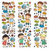 Children zoo Pet shop Veterinary Kindergarten kids with dog, hamster, cat Animals and food and accessories. Children zoo Pet shop Veterinary Kindergarten kids Royalty Free Stock Photo