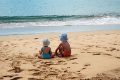 Childrens. In the beach Stock Photo