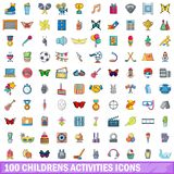 100 childrens activities icons set, cartoon style. 100 childrens activities icons set. Cartoon illustration of 100 childrens activities vector icons isolated on vector illustration
