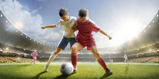 Childrens Are Playing Soccer On Grand Arena Stock Photos