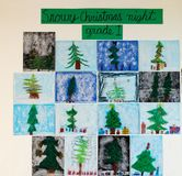 Childrens art - Snowy Christmas Night royalty free stock photography