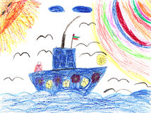 Childrens artwork ship in sea Stock Photography