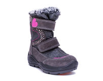Childrens autumn or winter fashion boots isolated on white background. Childrens autumn or winter fashion boots isolated on white background Royalty Free Stock Image
