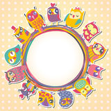 Childrens background with multicolored cartoon owls. Royalty Free Stock Photography