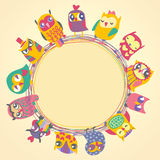 Childrens background with multicolored cartoon owls. For cute card. Circle frame. Place for text. Template for design cartoon greeting card, Valentines day royalty free illustration