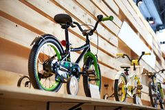 Childrens bicycles in sport shop Royalty Free Stock Images