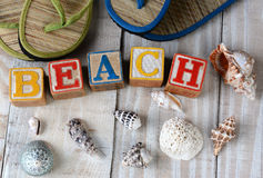 Childrens Blocks Spelling Out Beach Stock Photo