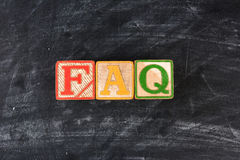 Childrens Blocks Spelling Out FAQ Royalty Free Stock Photos