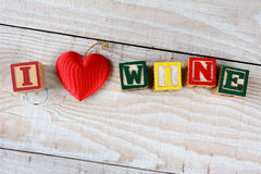 Childrens Blocks Spelling Out I Love Wine stock photography
