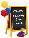 Childrens Book Week, Chalkboard Easel Sign, Books, Balloons Royalty Free Stock Images
