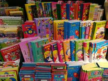 Childrens books. Colorful childrens books in the supermarket store Stock Images