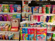 Childrens books. Colorful childrens books in the supermarket store Royalty Free Stock Photography