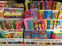 Childrens books. Colorful childrens books in the supermarket store Stock Photo