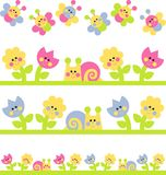 Childrens Borders. With flowers. snails and butterflies Royalty Free Stock Images