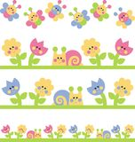 Childrens borders. With snails and flowers Stock Image