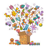 Childrens box for toys. Doodle pictures vector illustration. Children toys collection, color kids toys in box Stock Photography