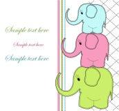 Childrens card with three elephants Stock Photos