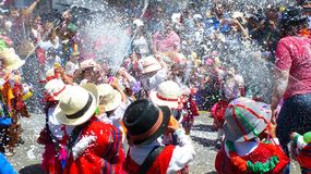 Childrens at Carnival in Cuenca, Ecuador royalty free stock photography