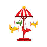 Childrens carousel with planes icon, cartoon style Stock Image