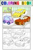 Childrens cartoon color book for boys. Raster of a garage with live cars. Coloring, black and white. Childrens cartoon color book for boys. Raster illustration Royalty Free Illustration