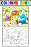 Childrens cartoon color of the holiday. Birthday with gifts, a memorable shot. The boy present a puppy to the boy. Black lines on a white background. Coloring Royalty Free Stock Images