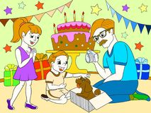 Childrens cartoon color of the holiday. Birthday with gifts, a memorable shot. The boy present a puppy to the boy. Black lines on a white background Royalty Free Stock Photography