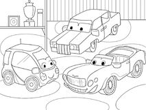 Childrens cartoon coloring book for boys. Vector illustration of a garage with live cars. Black lines on a white background Stock Photos