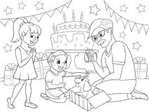 Childrens cartoon coloring of the holiday. Birthday with gifts, a memorable shot. The boy present a puppy to the boy. Royalty Free Stock Photo