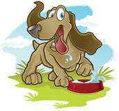 Happy Dog. A childrens cartoon illustration of a dog drinking water Stock Photos