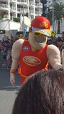 Action man characters at the parade in Broadbeach, Queensland, Australia stock photos