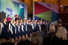 Childrens choir performing during the award Philanthropist of the Year Stock Photo
