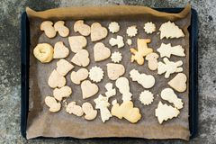 Childrens christmas cookies on a tray Royalty Free Stock Photography