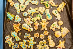 Childrens christmas cookies on a tray Stock Photos