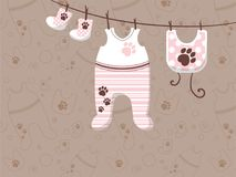 Childrens clothes are hung on ropes. Advertising banner for stores. Illustration Royalty Free Stock Photography