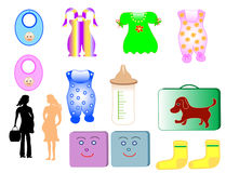 Childrens clothing. Illustrations collection childrens clothing and pregnant woman, object isolated. Vector Stock Photos