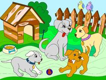 Childrens color book cartoon family on nature. Mom dog and puppies children