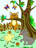 Childrens color cartoon animals friends in nature. Duckling, puppy and kitten. Duck, dog and cat. For adults raster illustration vector illustration