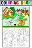 Childrens color and coloring book cartoon family on nature. Mom dog and puppies children. For adults raster illustration. Anti-stress for adult royalty free illustration