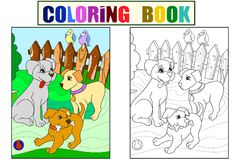 Childrens color and coloring book cartoon family on nature. Mom dog and puppies children vector illustration
