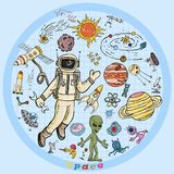 Childrens colored drawings_4_on the space theme, science and the emergence of life on earth, in the style of Doodle. Vector colored childrens drawings on the vector illustration
