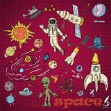 Childrens colored drawings_1_on the space theme, science and the emergence of life on earth, in the style of Doodle. Vector colored childrens drawings on the vector illustration