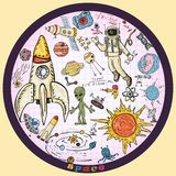 Childrens colored drawings_2_on the space theme, science and the emergence of life on earth, in the style of Doodle. Vector colored childrens drawings on the stock illustration