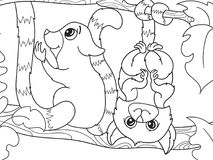 Childrens coloring book cartoon family of lemurs on nature. For adults vector illustration. Anti-stress for adult. Black and white lines Royalty Free Stock Image